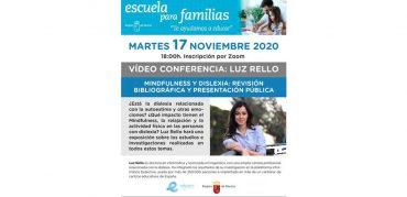 Vídeo conferencia sobre dislexia por Luz Rello el martes 17 a las 18h
