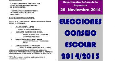 Elecciones Consejo Escolar miércoles 26 de noviembre