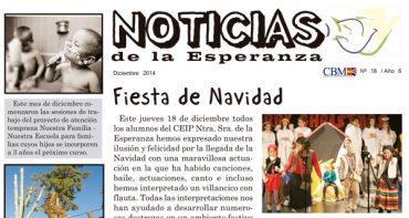 """Disponible el ejemplar de diciembre de """"Noticias de la Esperanza"""""""