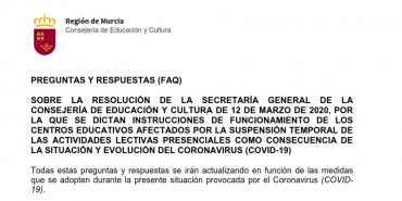 Recomendaciones y preguntas frecuentes sobre la suspensión de clases y el coronavirus