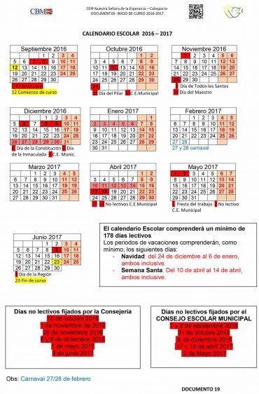 Publicado el calendario escolar 2016-2017