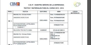 Libros de texto para el curso 2013-2014
